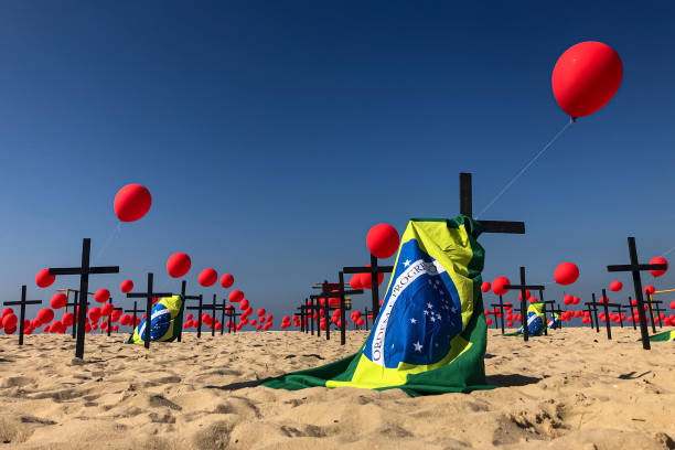 BRA: Rio de Paz NGO Pays Homage to the 100,000 Fatal Victims of Coronavirus (COVID - 19) in Brazil at Copacabana Beach
