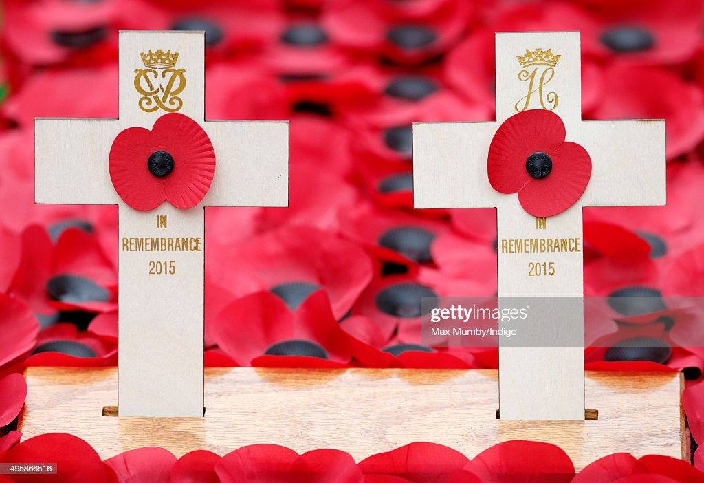 Crosses and poppies placed by Prince Philip, Duke of Edinburgh and Prince Harry in the Field of Remembrance at Westminster Abbey on November 5, 2015 in London, England.