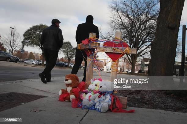Crosses are placed outside of Mercy Hospital where four people were shot and killed yesterday on November 20 2018 in Chicago Illinois Chicago Police...