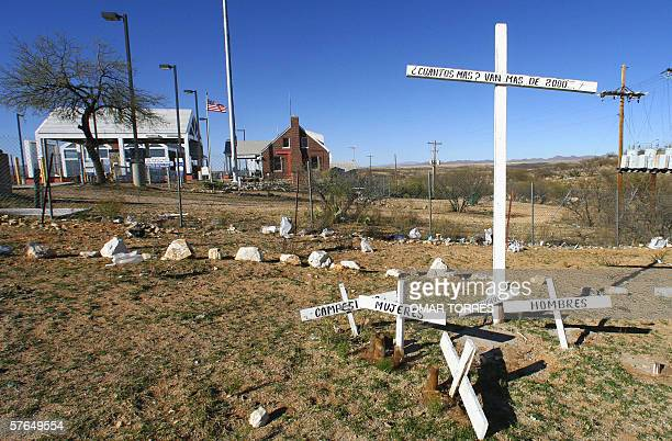Crosses at Sasabe in the state of Sonora symbolize the Mexican immigrants who died trying to cross the border into the US across the Arizona desert...