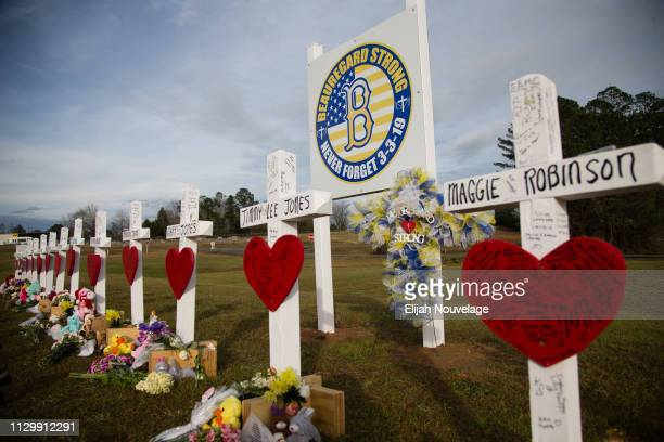 Crosses decorated with messages for the 23 victims of an EF4 tornado are seen on the grounds of Providence Baptist Church on March 11 2019 in...