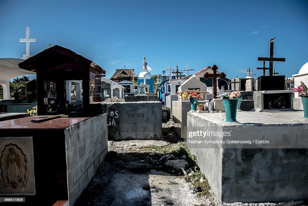 Crosses In Cemetery Against Clear Sky : Stock Photo