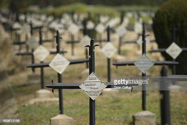 Crosses mark the graves of the 10,000 French and French Colonial soldiers killed during the Gallipoli Campaign at the French National Cemetery at...