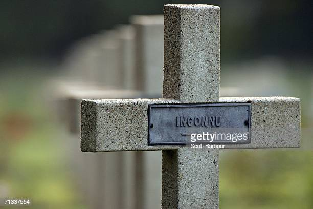Crosses mark the graves of unknown soldiers killed in the Battle of Somme at the Thiepval Memorial and AngloFrench cemetery as the 90th anniversary...