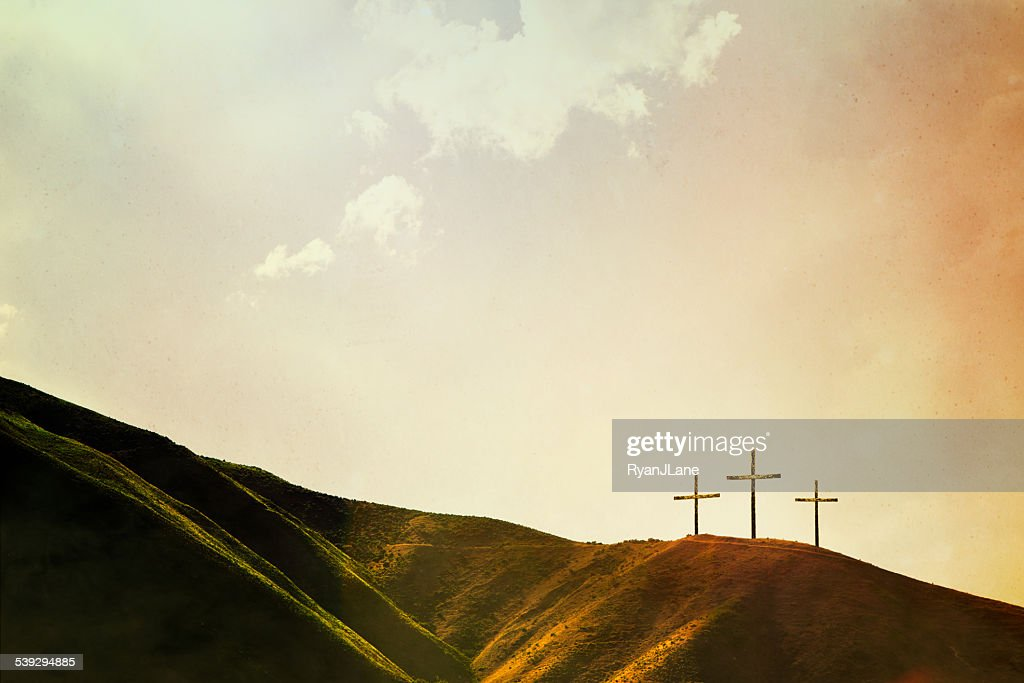 Crosses on Hillside : Stock Photo