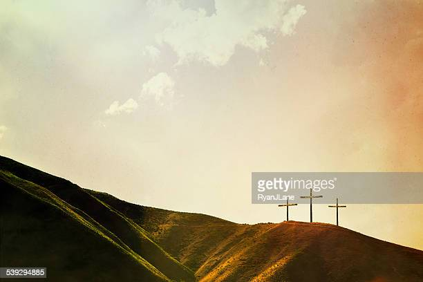 crosses on hillside - christendom stockfoto's en -beelden
