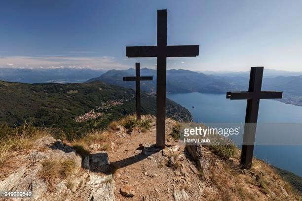 Crosses on Monte Morissolo, view of Trarego-Viggiona and Lago Maggiore, Verbano-Cusio-Ossola province, Piedmont region, Italy
