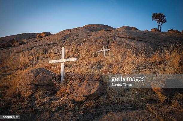 Crosses on the koppie near Lonmin's Marikana Platinum Mine on August 14 2014 in Rustenburg South Africa Thirtyfour miners were killed by police on 16...