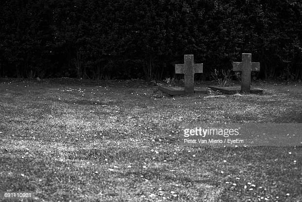 crosses on tombstones at cemetery - monument stock pictures, royalty-free photos & images