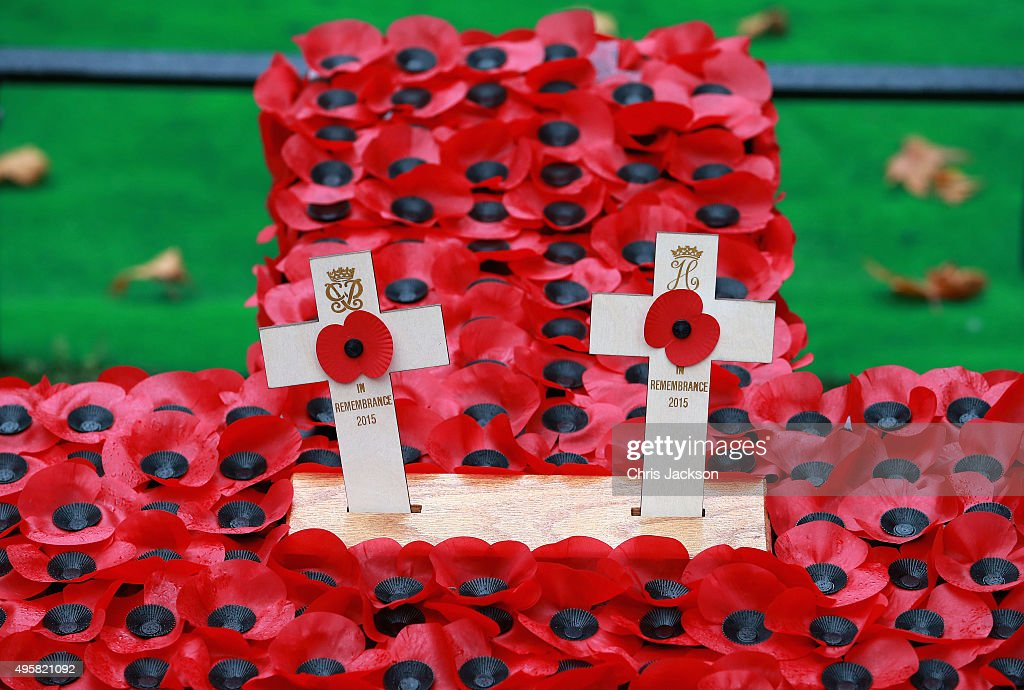 Crosses placed by Prince Philip, Duke of Edinburgh and Prince Harry at a Service in the Field of Remembrance at Westminster Abbey on November 5, 2015 in London, England.