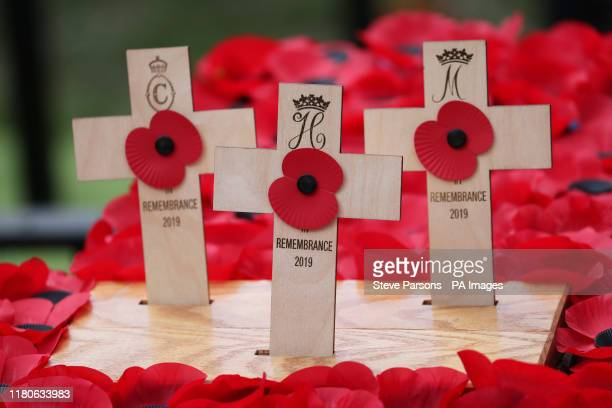 Crosses planted by the Duke and Duchess of Sussex and the Duchess of Cornwall during a visit to the Field of Remembrance at Westminster Abbey in...