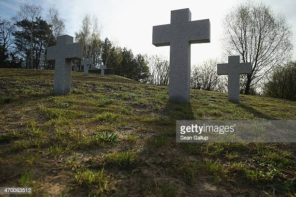 Crosses stand at a German war cemetery and memorial that contains the bodies of over 2000 German soldiers mostly killed in 1945 east of Berlin on...