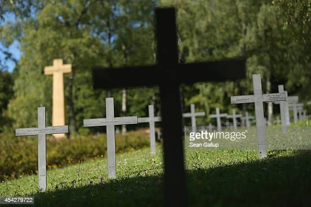 Crosses stand at the Azannes II German military cemetery where 7450 German World War I soldiers are buried on August 27 2014 near Verdun France Most...