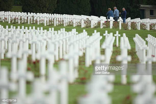 Crosses stand at the cemetery where French soldiers killed in the World War I Battle of Verdun are buried on August 27 2014 near Verdun France The...