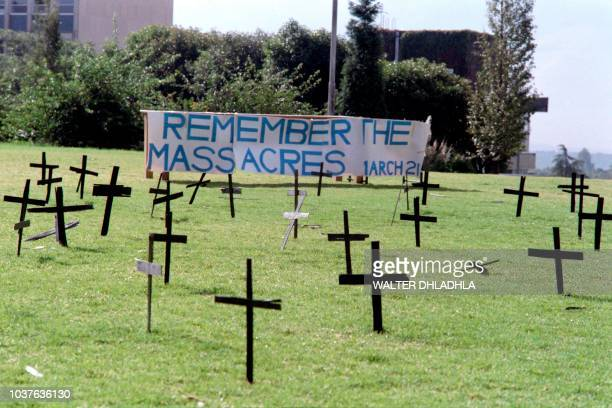 Crosses were erected on March 19 1987 on the campus of the Witswaterrand University in Johannesburg to commemorate the killings of 69 people killed...