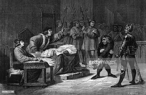 Crossexamination of Quasimodo engraving by Meaulle illustration for book NotreDame de Paris by Victor Hugo 1877