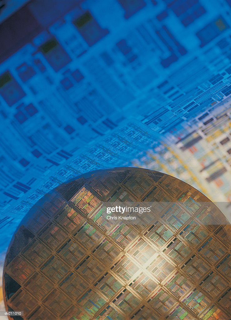 Crosshair lighting effect on wafer-chip : Stock Photo