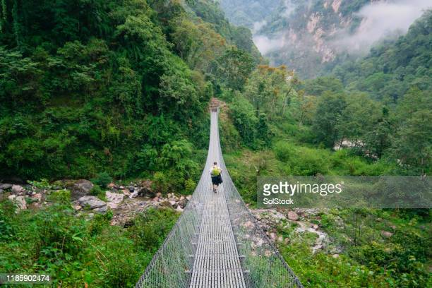 crossing a suspension bridge - nepal photos stock pictures, royalty-free photos & images