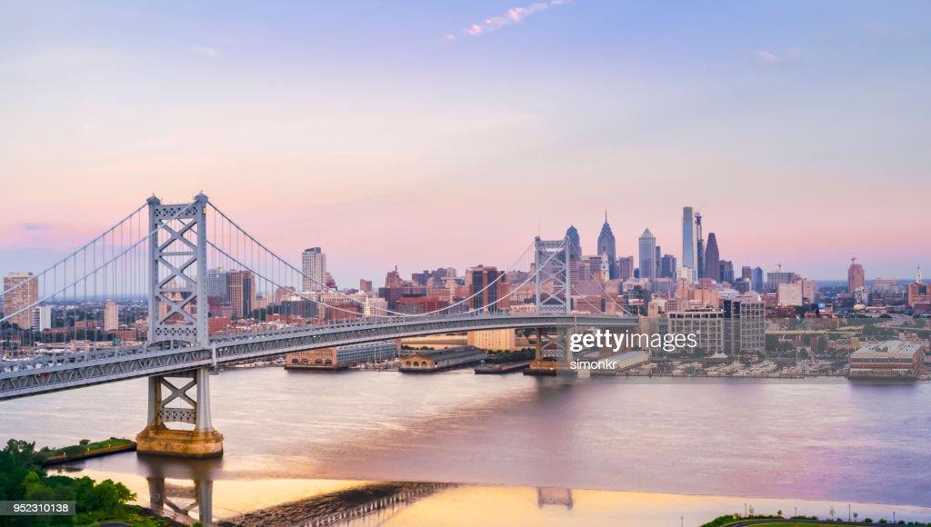 Crossing Benjamin Franklin Bridge from Camden, NJ to Philadelphia, PA : Stock Photo