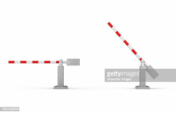 Crossing gate with one open and one closed barrier
