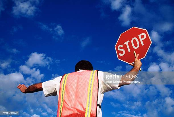 Crossing guard with stop sign