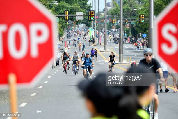 Crossing guards hold stop signs to erect traffic at an intersection as thousands of pedestrians cyclist skaters joggers enjoy a closed off 4mi...