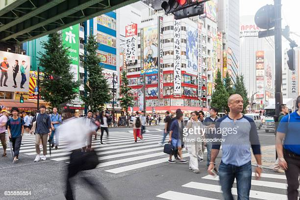 A Crossing In Akihabara Electric Town At The Evening, Tokyo