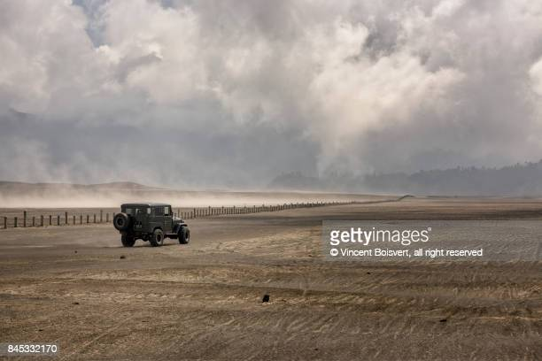 crossing mount bromo caldera by 4x4, java, indonesia - bromo crater stock pictures, royalty-free photos & images
