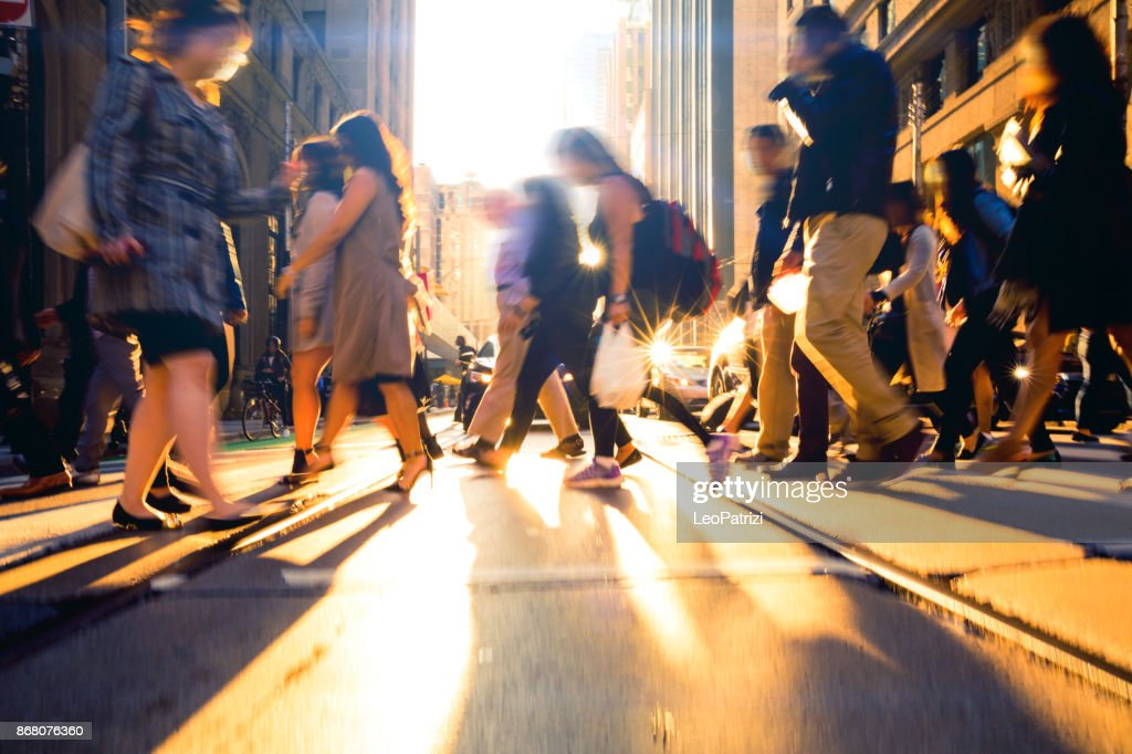 Crossing people - traffic at rush hour : Stock Photo