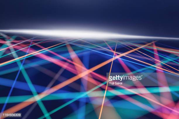 crossing rainbow color strings - scientificsubjects stock pictures, royalty-free photos & images