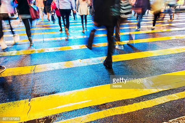 crossing street - pedestrian crossing sign stock photos and pictures