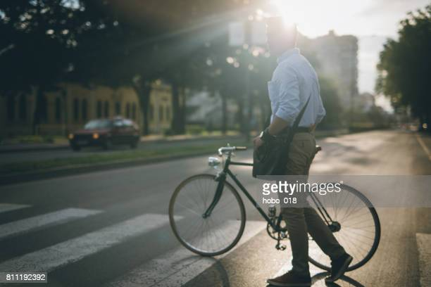 Crossing street with a bike