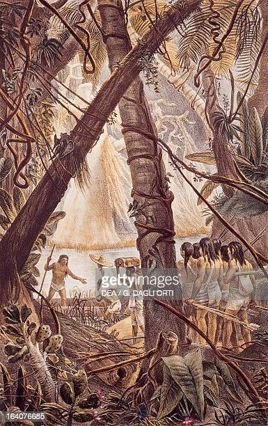 Crossing the Amazon rainforest engraving from A Picturesque and Historic Voyage to Brazil by JeanBaptiste Debret 18341839 South America 19th century