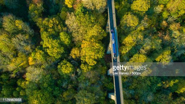 crossing the aqueduct - pontcysyllte aqueduct - boulevard stock pictures, royalty-free photos & images