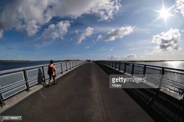 crossing the bridge at amager strandpark, copenhagen, denmark - vsojoy stock pictures, royalty-free photos & images
