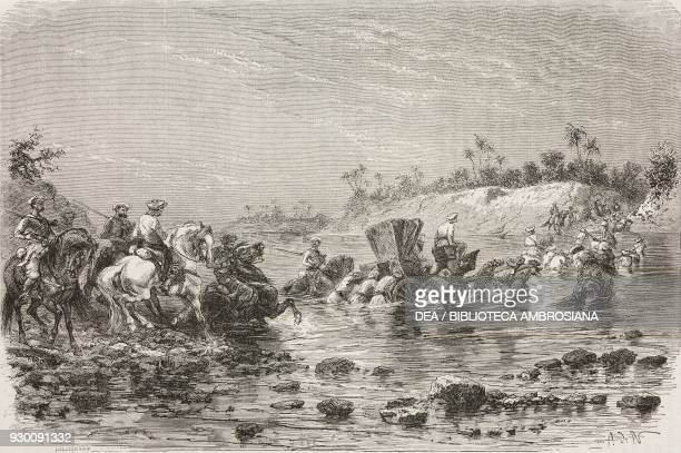 Crossing the Parbatti river India drawing by Alphonse de Neuville from a sketch by Rousselet from The Hindustan by LouisTheophile Marie Rousselet...