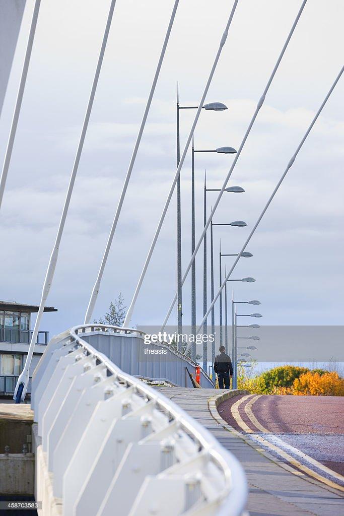 Crossing the Squinty Bridge, Glasgow : Stock Photo