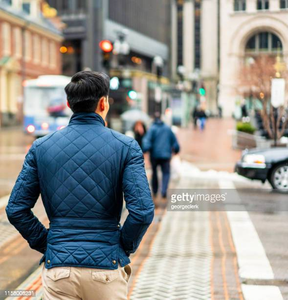 crossing the street in boston - pedestrian stock pictures, royalty-free photos & images
