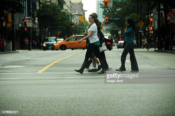 Crossing the street in Vancouver