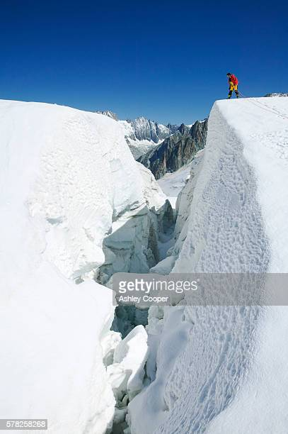 crossing the vallee blanche on the mer du glace above chamonix france - blanche vallee stock photos and pictures
