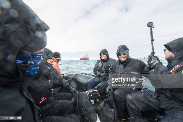 Crossing to the Polar Ship Admiral Maximiano H41 at Chilean Base President Eduardo Frei Montalva on November 04 2019 in King George Island Antarctica