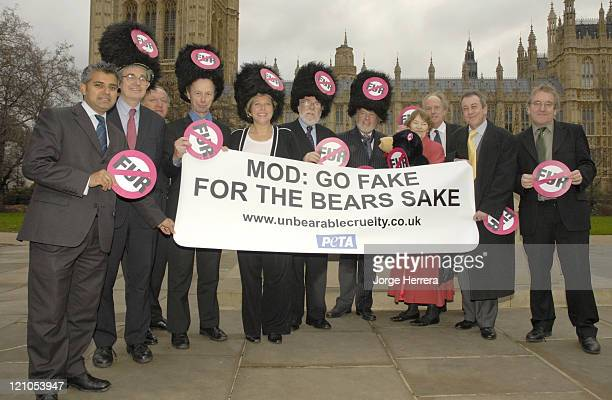 Crossparty Members of Parliament protest against the use of real bear fur in the Queen's Guards caps January 9 held at Victoria Tower Gardens outside...