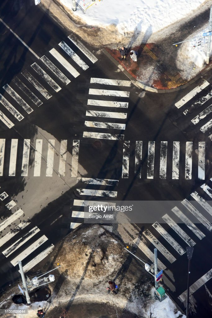Crossroad aerial view in Sapporo : Stock Photo
