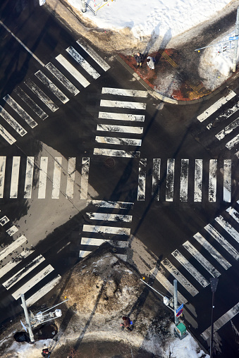 Crossroad aerial view in Sapporo - gettyimageskorea