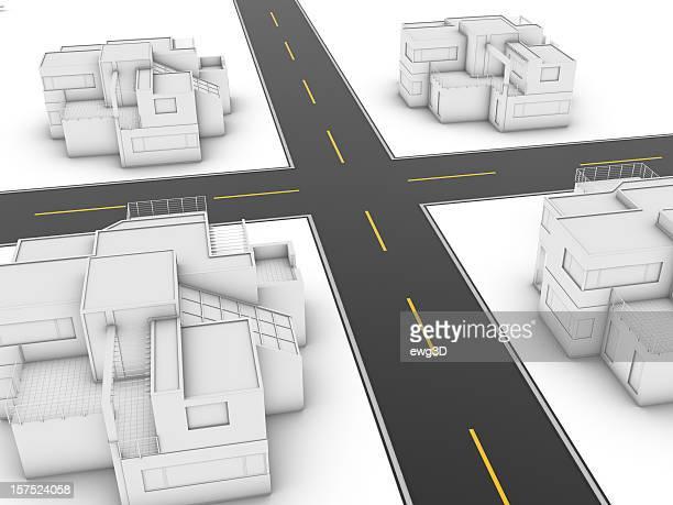 Kreuzung und Stadt