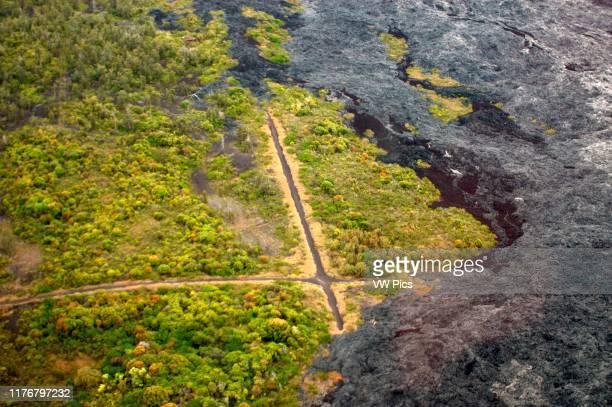 Crossroad engulfed by a lava flow from Kilauea Volcano Kalapana Big Island Hawaii USA
