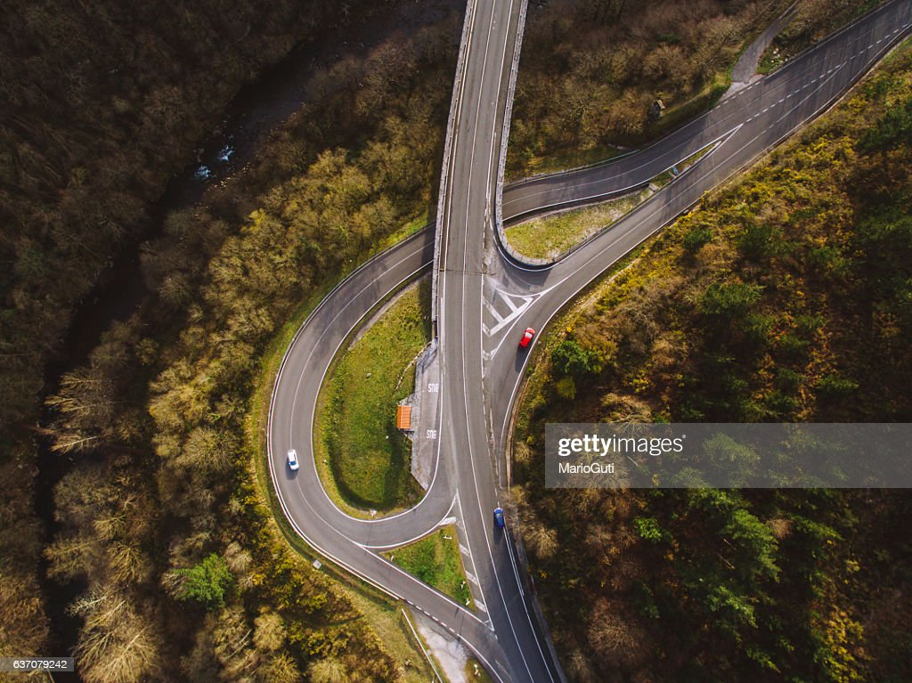 Crossroad from above : Stock Photo