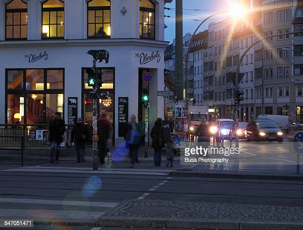 crossroad in berlin mitte, twilight - central berlin stock photos and pictures