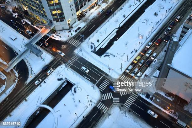 A crossroad in Sapporo, Japan