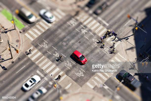 Crossroad Traffic in Miniature City. Tilt-Shift